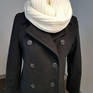 J. Crew Black Wool/Nylon Pea Coat